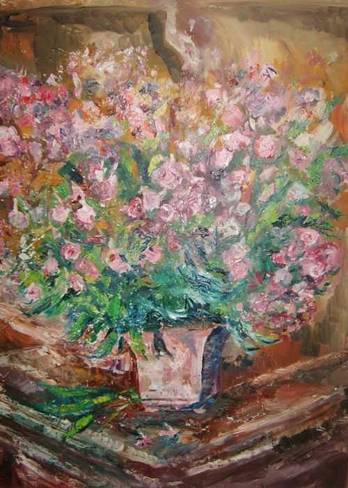 Flowers Hutch Still Life Greeting Card featuring the painting Phlox by Joseph Sandora Jr