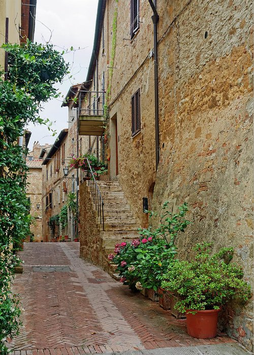 Narrow Pedestrian Street Greeting Card featuring the photograph Pienza Street by Sally Weigand