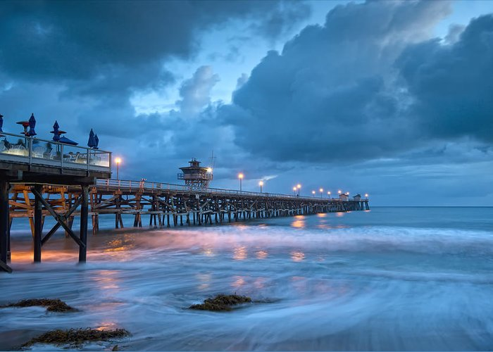 San Clemente Greeting Card featuring the photograph Pier In Blue by Gary Zuercher