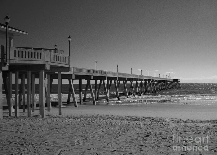 Pier Greeting Card featuring the photograph Pier Willmington Nc by Tommy Anderson