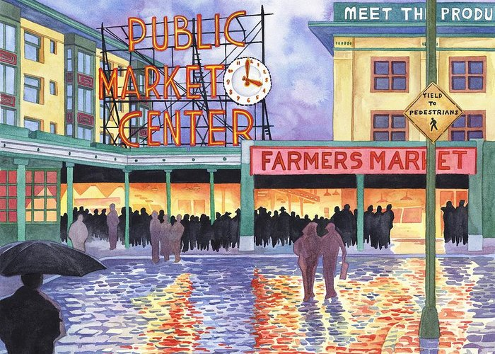 Pike Place Greeting Card featuring the painting Pike Place Lights by Scott Nelson
