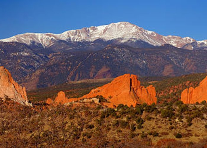 Pike's Peak Greeting Card featuring the photograph Pike's Peak And Garden Of The Gods by Jon Holiday