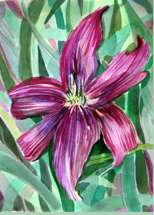 Day Lily Greeting Card featuring the painting Pink Day Lily by Mindy Newman