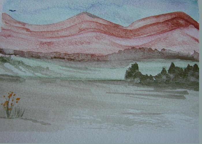 Mountains Greeting Card featuring the painting Pink Mountains by Dottie Briggs