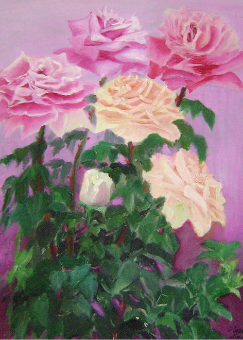 Abstract Greeting Card featuring the painting Pink Romance by Lian Zhen