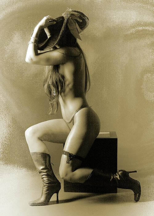 Nude Greeting Card featuring the photograph Pirate Girl by Naman Imagery