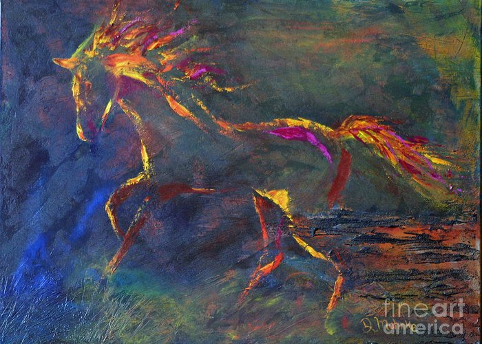 Horse Greeting Card featuring the painting Playful by Diana Mahnke