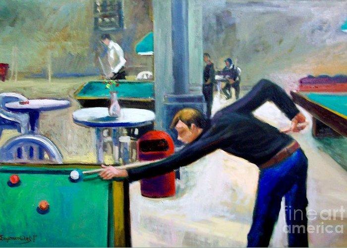 Billiard Paintings.playing Billiard.billiard Greeting Card featuring the painting Playing Billiard by George Siaba