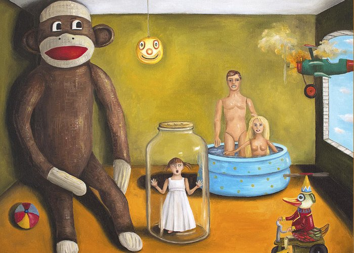 Barbie Greeting Card featuring the painting Playroom Nightmare 2 by Leah Saulnier The Painting Maniac