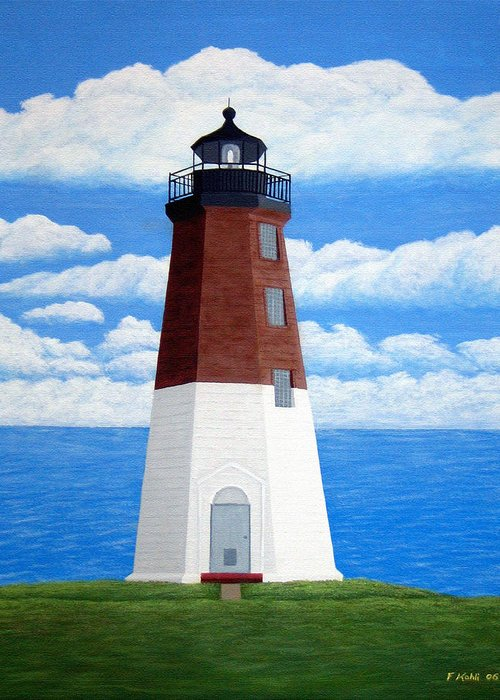 Lighthouse Paintings Greeting Card featuring the painting Point Judith Lighthouse by Frederic Kohli