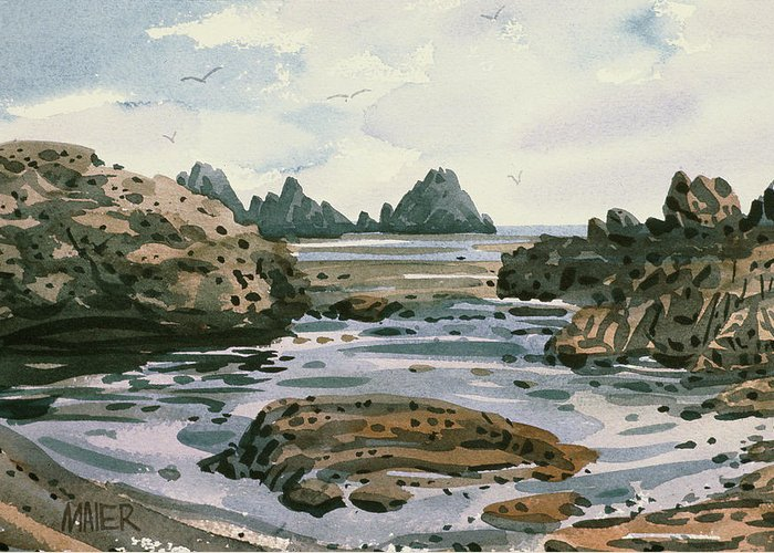 Point Lobos Greeting Card featuring the painting Point Lobos by Donald Maier