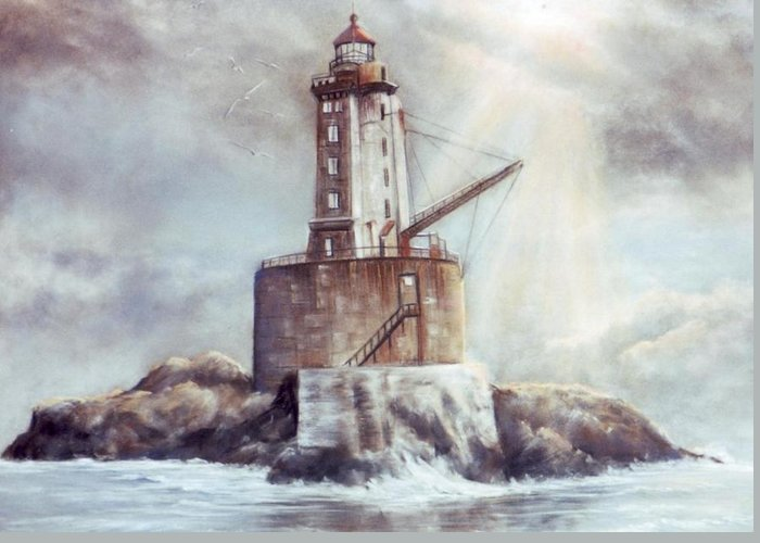 Lighthouse Greeting Card featuring the painting Point St. George Reef Lighthouse by Lynne Parker