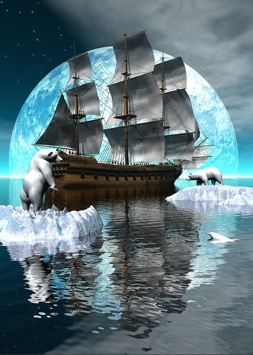 Bryce Greeting Card featuring the digital art Polar Expedition by Claude McCoy