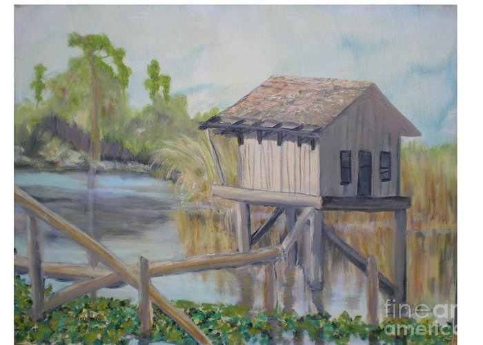 Seascape Greeting Card featuring the painting Pole House by Hal Newhouser
