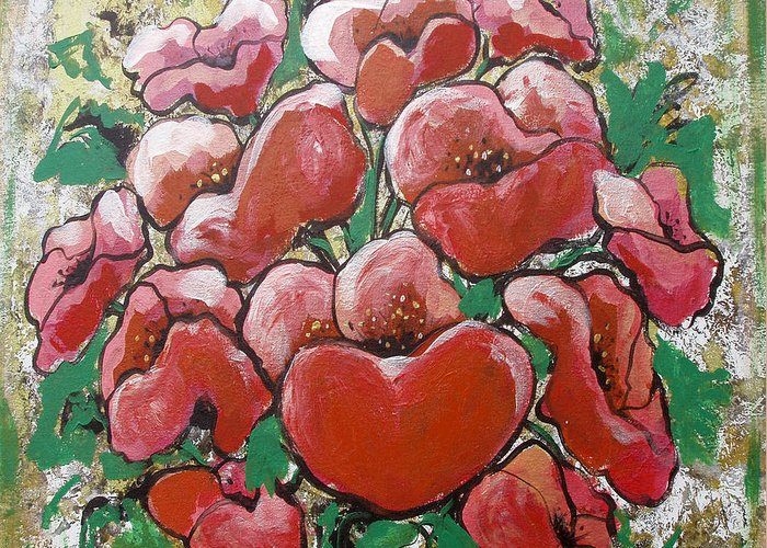 Poppies Greeting Card featuring the painting Poppies by Gina De Gorna