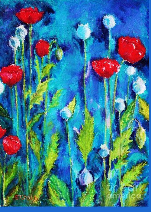 Poppies Greeting Card featuring the painting Poppies by Melinda Etzold