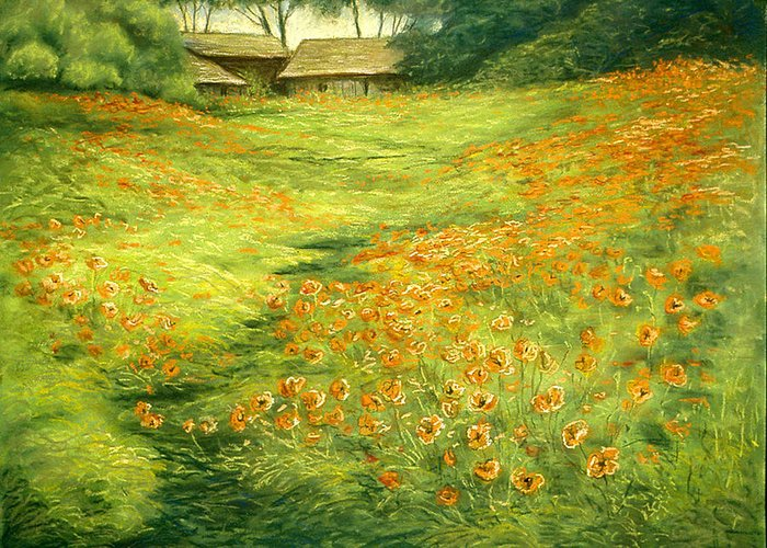 Landscape Greeting Card featuring the pastel Poppies by Michael Scherer