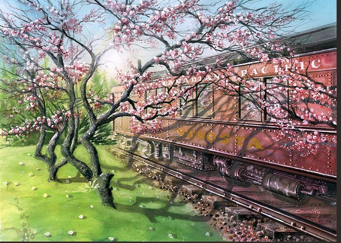Landscape Greeting Card featuring the painting Port Moody Train Station by Dumitru Barliga