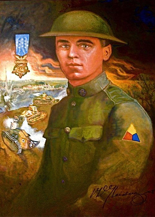 Portrait Of Corporal Harold W. Roberts Greeting Card featuring the painting Portrait Of Corporal Roberts by Dean Gleisberg