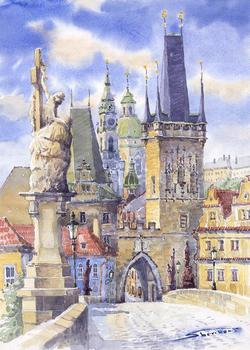Watercolour Greeting Card featuring the painting Prague Charles Bridge by Yuriy Shevchuk