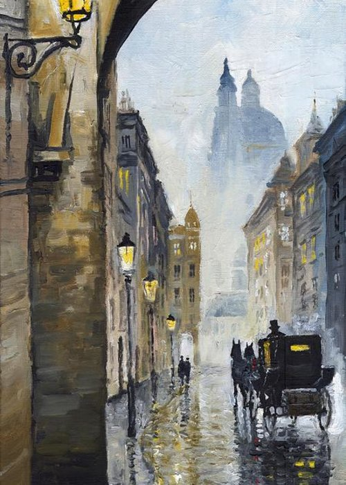 Prague Greeting Card featuring the painting Prague Old Street 01 by Yuriy Shevchuk