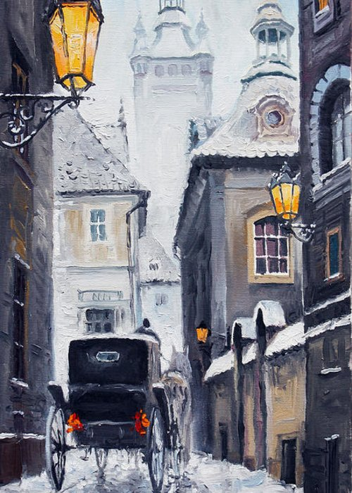 Oil Greeting Card featuring the painting Prague Old Street 02 by Yuriy Shevchuk