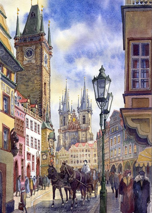 Watercolour Greeting Card featuring the painting Prague Old Town Square 01 by Yuriy Shevchuk