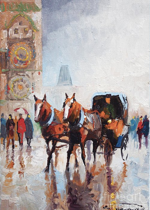 Prague Greeting Card featuring the painting Prague Old Town Square by Yuriy Shevchuk