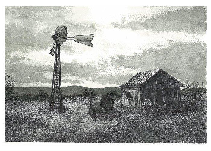 Prairie Greeting Card featuring the painting Prairie Farm by Jonathan Baldock