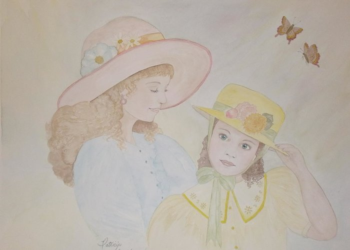 Girls Greeting Card featuring the painting Prairie Sun Hats by Patti Lennox