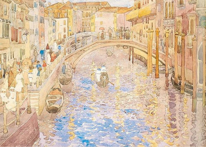 Mosaic Greeting Card featuring the digital art prendergast9 Maurice Prendergast by Eloisa Mannion
