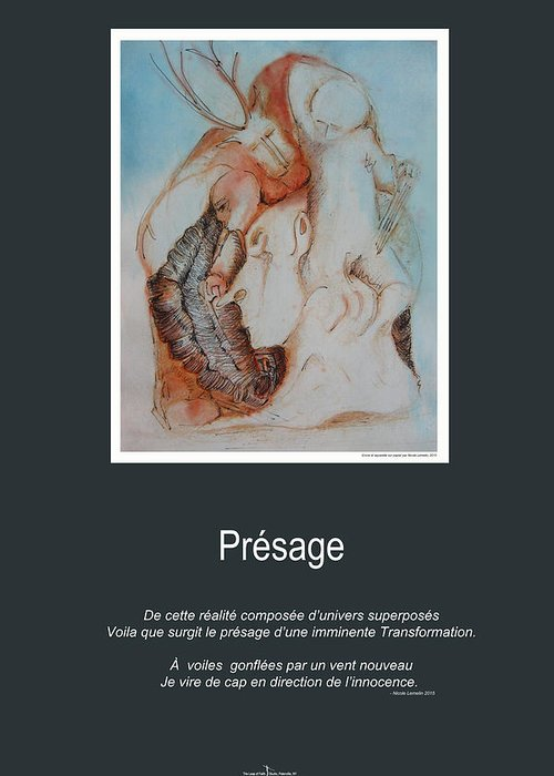 Presage Greeting Card featuring the mixed media Presage by Nicole Lemelin
