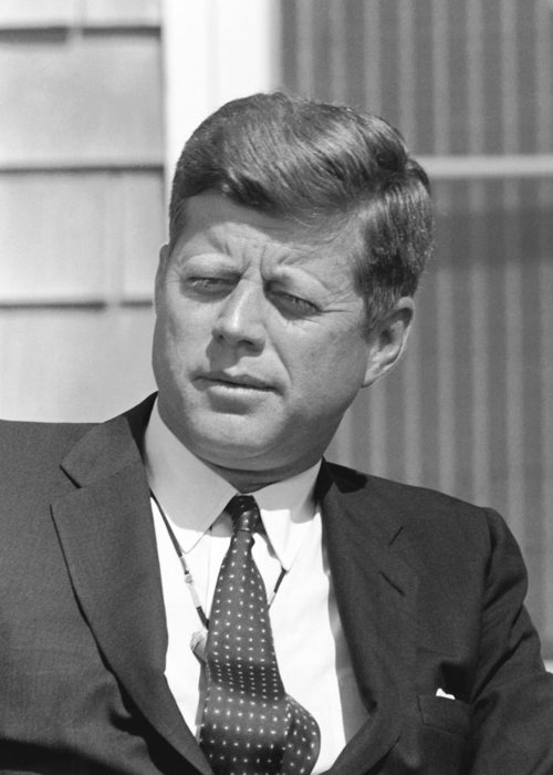 Jfk Greeting Card featuring the photograph President John Kennedy by War Is Hell Store