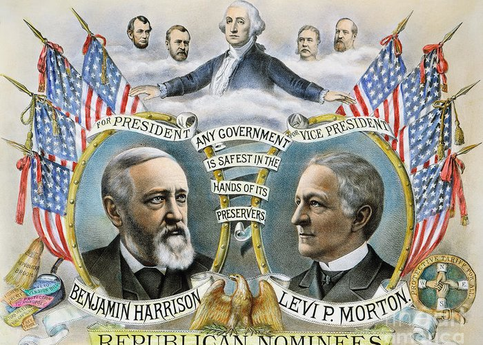 1888 Greeting Card featuring the photograph Presidential Campaign, 1888 by Granger