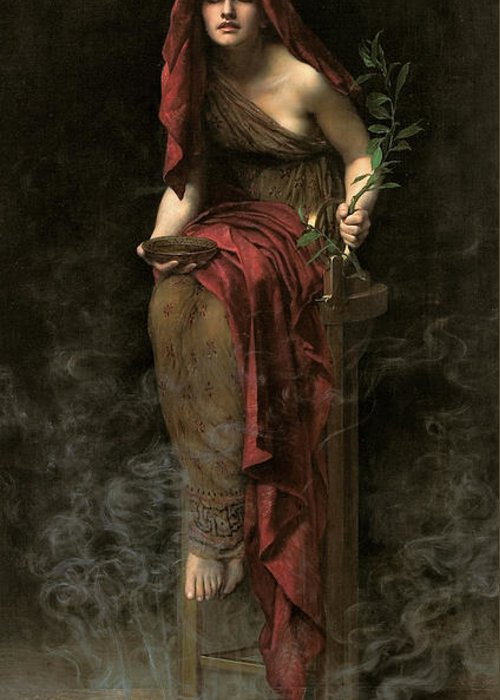 John Collier Greeting Card featuring the painting Priestess Of Delphi by John Collier