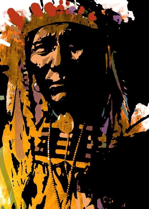Native American Greeting Card featuring the painting Proud Chief by Paul Sachtleben