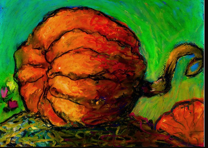 Landscape Greeting Card featuring the painting Pumpkin One by Angelina Marino
