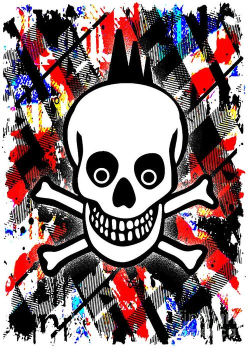 Punk Greeting Card featuring the digital art Punk Rock Skull by Roseanne Jones
