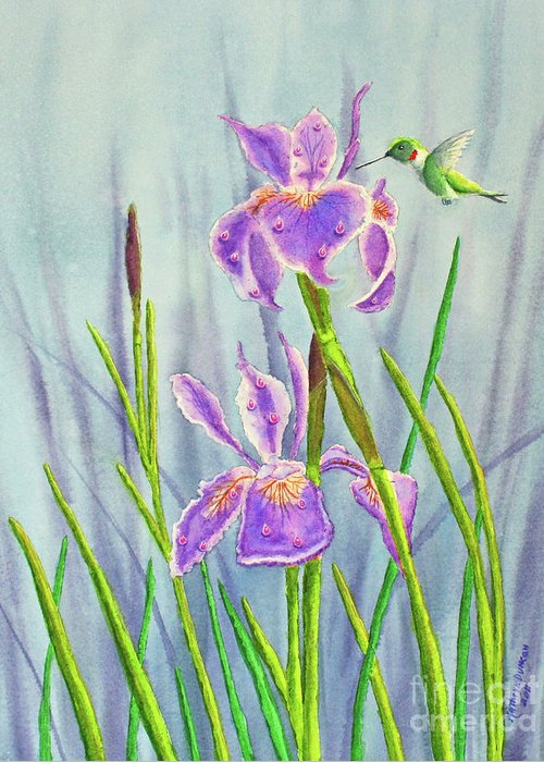Dutch Iris Greeting Card featuring the painting Purple Dutch Iris And Hummer by Kathryn Duncan