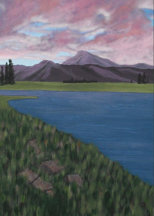 Landscape Greeting Card featuring the painting Purple Mountains by Candace Shockley