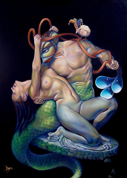 Mermaid Greeting Card featuring the painting Pygmalion And Galatea by Patrick Anthony Pierson