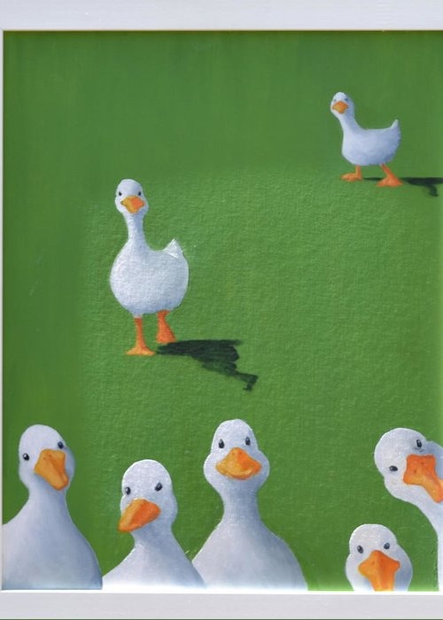 Ducks Greeting Card featuring the painting Quackers by Sheryl Sutherland