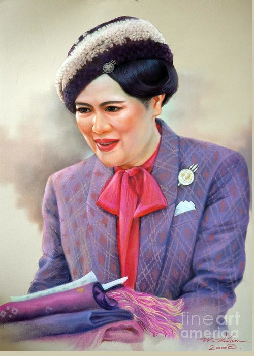 Thai Greeting Card featuring the painting Queen Sirikit by Chonkhet Phanwichien