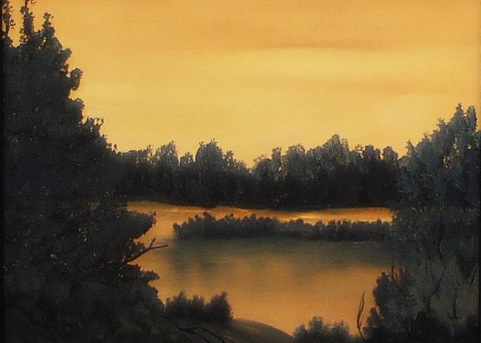 Sunsets Greeting Card featuring the painting Quiet Sunset by Rebecca Fitchett