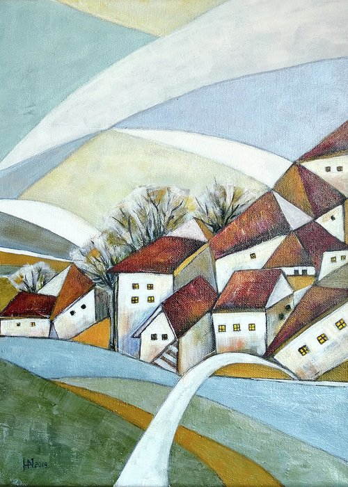 Abstract Greeting Card featuring the painting Quiet Village by Aniko Hencz