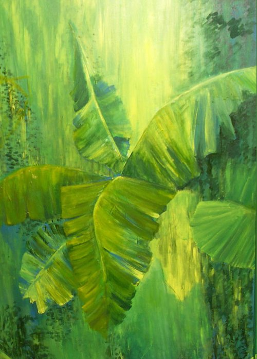 Rain Forest Nature Greeting Card featuring the painting Rain Forest by Carol P Kingsley