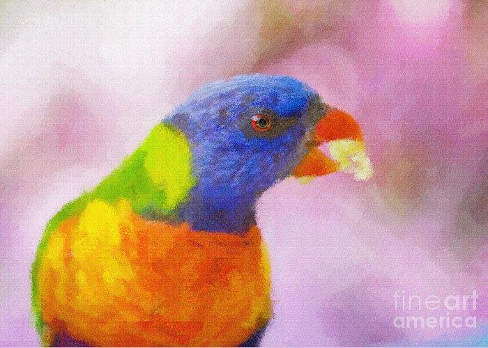 Rainbow Lorikeet Greeting Card featuring the photograph Rainbow Lorikeet by Sheila Smart Fine Art Photography