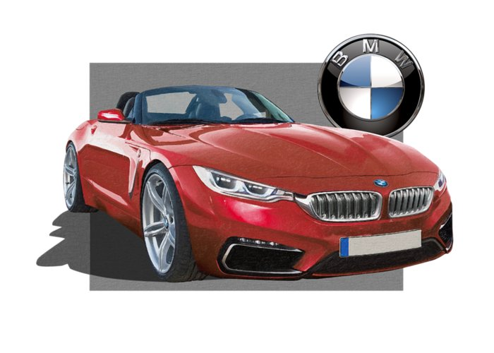 �bmw� Collection By Serge Averbukh Greeting Card featuring the photograph Red 2018 B M W Z 5 with 3 D Badge by Serge Averbukh