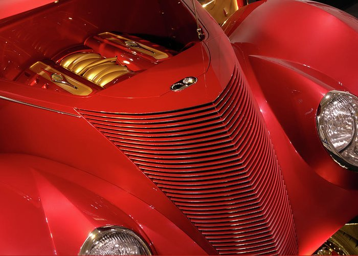Car Greeting Card featuring the photograph Red Classic Car Details by Oleksiy Maksymenko