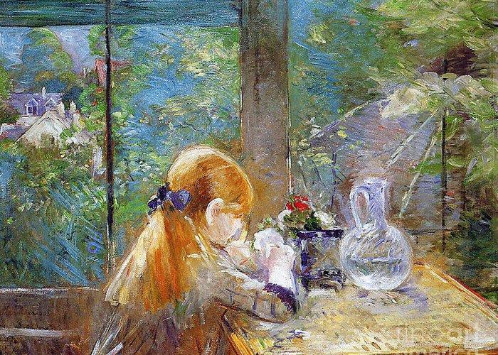 Red-haired Girl Sitting On A Veranda Greeting Card featuring the painting Red-haired Girl Sitting On A Veranda by Berthe Morisot